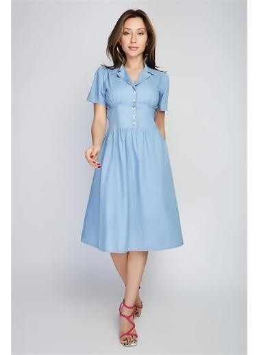 Rodi Jeans Kadın Yakalı Düðmeli Denim Elbise Ds21Yb112210 Mavi
